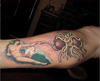 Adam and Spaghetti God Sistine Chapel Tattoo