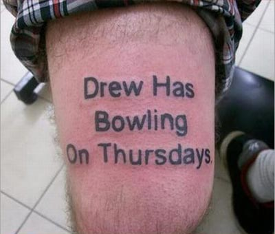 Drew has Bowling Tattoo
